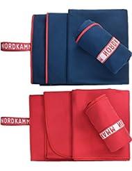 NORDKAMM – Mikrofaser Handtuch Set, ultraleicht, Microfaser Handtuch Reise Set, Handtuch klein 50x100, groß 70x150, blau oder rot inkl. Tasche, schnelltrocknend, für Yoga, Sport, Outdoor, Trekking