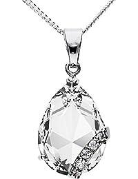 MYA art Damen Kette Halskette 925 Silber Tropfen mit Ornament Anhänger  Zirkonia Weiß MYASIKET-7 bbdaa40720
