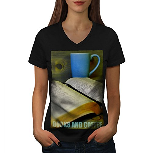 Wellcoda Book Coffee Study Womens V-Neck T-Shirt, Reading Graphic Design Tee