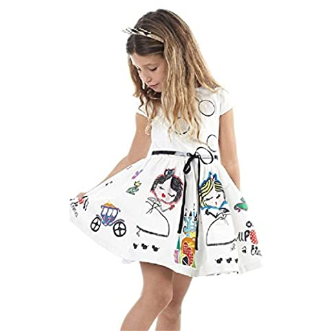 CYBERRY.M Fille Été Casual Cute Manche Courtes Cartoon Midi Robe de Party Princesse Daily Dress (120, Blanc)