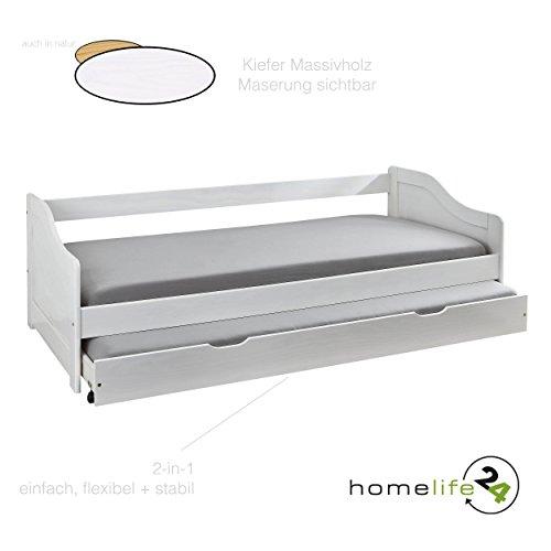 *Massivholzbett Jugendbett 90×200 cm Kinderbett Bett Funktionsbett Kojenbett Ausziehbett in weiß mit ausziehbarer Bettkasten*