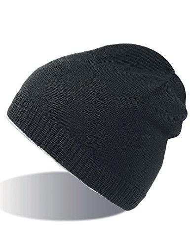 SNAPPY NERO BEANIE HAT cuffia cappello double face 100% Cotone+100% Polar Fleece Pile