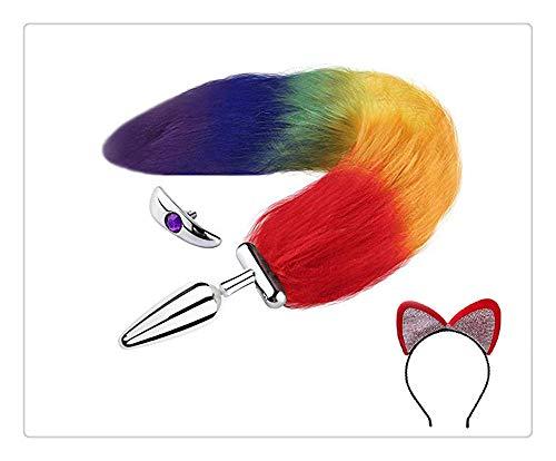 Z-one 1 Katzenohren, Diamant-Stirnband, Fellhaar mit Füchse/Hund verformbar, für Halloween, Party, Cosplay, Kostüm für Damen (bunt)