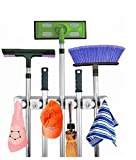 Jarvan Broom Mop Halter, 5 Position mit 6 Haken Hält bis zu 11 Werkzeuge Aufbewahrungslösung für Ihr Zuhause Schrank Garage Schuppen, Einfache Lösung für Mop und Besen Halter Speicher Probleme