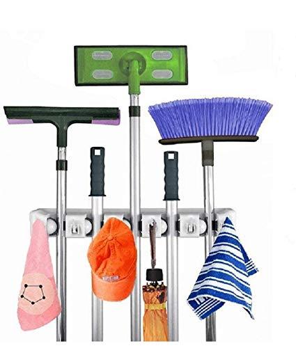 Jarvan Supporto per la spazzola, 5 posizioni con 6 ganci. Conserva fino a 11 soluzioni di storage per la tua casa. Garage Shed per la tua casa, facile soluzione per i mop e le chiavi di magazzino