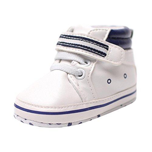 Sneaker Kleinkind, DoraMe Baby Mädchen Jungen Spleiß Weiche Sohle Anti-Rutsch Turnschuhe Freizeit Schuhe Unisex PU-Leder Solide Sport Schuhe für 0-18 Monate (6-12 Monate/Size:12, Schwarz)