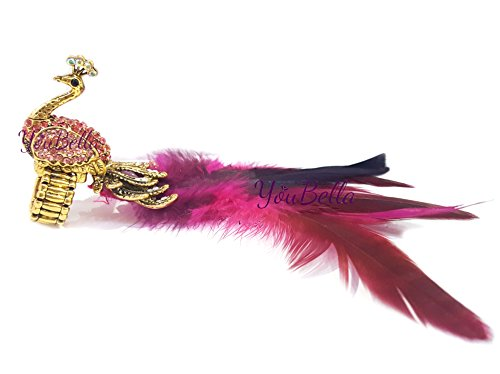 YouBella Jewellery Designer Peacock Feather Adjustable Ring for Girls and Women (Pink)