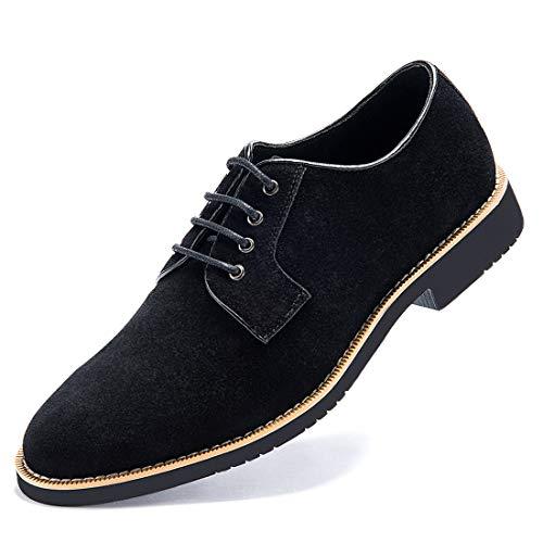GOLAIMAN Herren Wildleder Oxford Schuhe klassisch Schnürung Derbys, Schwarz EU 42