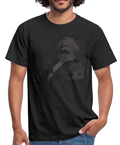 Spreadshirt Karl Marx Manifest Hammer Und Sichel Im Ährenkranz Männer T-Shirt, S, Schwarz