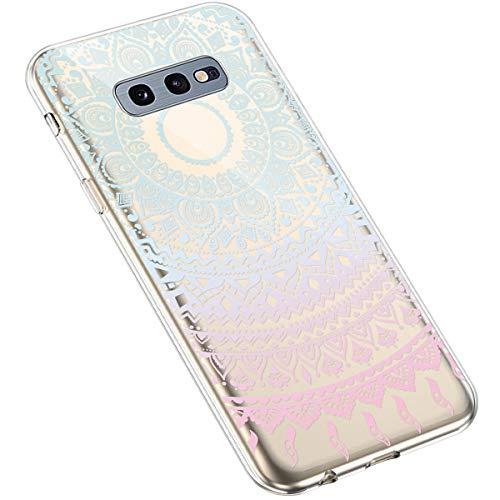 Uposao Kompatibel mit Samsung Galaxy S10e Handyhülle Transparent TPU Silikon Schutzhülle Bunte Gemalt Muster Durchsichtig Case Crystal Clear Handytasche Anti-Kratzer Stoßfest,Sonnenblume