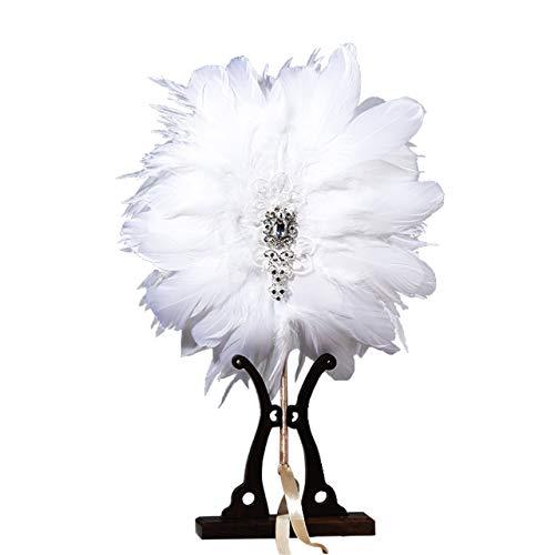 Halloween Gatsby Kostüm Große Der - Metme Roaring 20s Feather Fan Falten Handheld Flapper Marabou Feather Hand Fan für Kostüm Dance Party Gatsby Zubehör