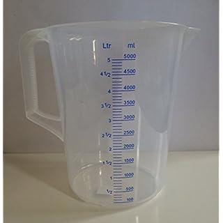 5000ml Kunststoff Messbecher 5 L Meßbecher Meßkanne mit Griff transparent lebensmittelecht