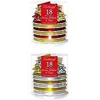 Compleanno Natale 18 Pezzi Fiocchi Nastri Che Si Arricciano Etichette Avvolgimento Rosso Oro Argento - Argento E Oro