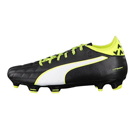 Puma Evotouch 3 Lth Fg, Chaussures de Football Compétition Mixte Adulte Noir/jaune fluo