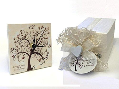 Bomboniere d'arte™ bomboniera matrimonio orologio albero della vita fondo crema
