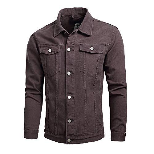 Line Kurzarm Crewneck Tee (KPILP Herrenmode Herbst Winter Taste Einfarbig Vintage Jeansjacke Tops Bluse Mantel Outwear Langarm-Shirt(X2-Kaffee,3XL))