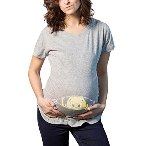 AMUSTER Schwangere Frauen Basic T-shirt Damen Umstandsmode T Shirt Kurzarm Schwangere Umsstandsshirt Geschenk für Damen Umstandstop Umstandsshirt (XL, Grau)