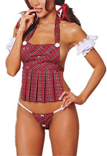 Flydo Sexy Minirock Mädchen Damen Kleid Babydoll Nachtwäsche Cosplay Schulmädchen Dessous Outfit Mini Sailor Anzug mit Strümpfen Kostüm Kleid Karneval Fasching Kostüm