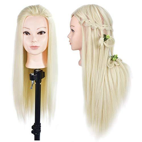 Testa di manichino con capelli sintetici per fare pratica con le acconciature, da 66- 71,1cm; morsa inclusa