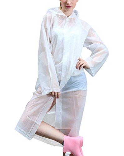 Mefine - Manteau de Pluie Imperméable à Capuche Femme Cape de Pluie L XL Une variété de couleurs Blanc Transparent