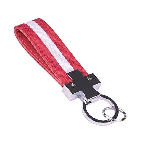 Nylon Flag (Aby Roman Design Streifen Nylon Band Auto Schlüsselanhänger Kette Ring , Canada Flag 2-Color)