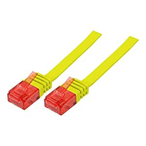BIGtec 5m flachband Netzwerkkabel Patchkabel Ethernet LAN DSL Patch Gigabit Kabel gelb ( 2x RJ-45 Anschluß , CAT5 ) 5 Meter