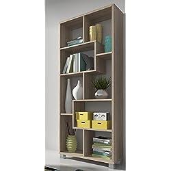 SelectionHome - Estantería librería de diseño comedor salón, color Roble Claro medidas: 68,5 x 161 x 25 cm de fondo