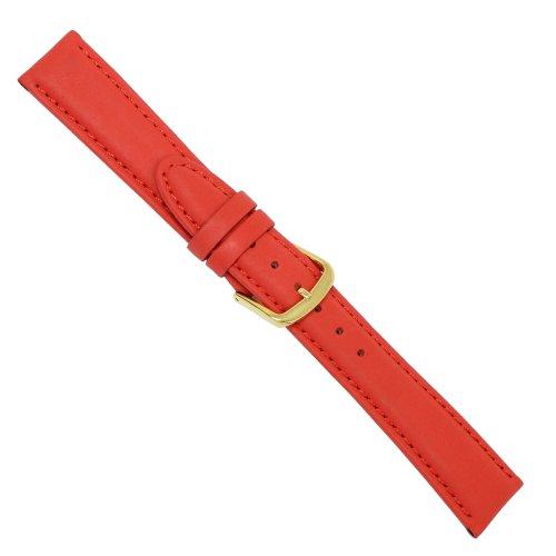 Uhrbanddealer 16mm Ersatzband Uhrenarmband 'Standard' Kalb Leder Band Rot matt 052416g