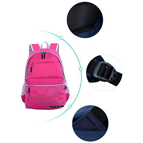 KINDOYO Jungen Mädchen Wasserdichte Rucksack für Kinder Unisex Schulrucksäcke Rucksack für Reisen, Wandern Rose