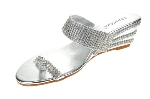 838de2896bb7 Chic Feet Ladies Womens Silver Diamante Low Wedge Heel Dressy ...