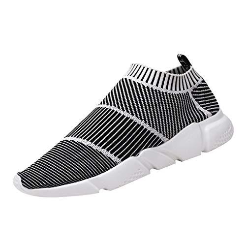 POLPqeD Sneakers Uomo Sportive Calze Scarpe da Corsa Slip on Walking Calzature da Ginnastica Low Top Formatori Passeggio Maglia Atletiche Comode Nero Bianco 39-44