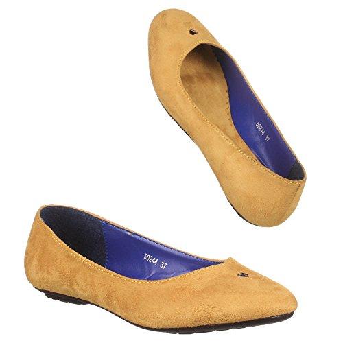 Chaussures, 50244, ballerines femme Jaune - Gelb Braun