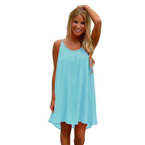 Frauen Backlose Kurze Minikleid Sommer Boho Abend Party Strand sonnen Kleid Beach Party Casual Tank Kleid Sommer Täglich Casual Mode Blusenkleid Langarm T-Shirt Kleid (L, Blau) (Tank Kleid Kostüm)