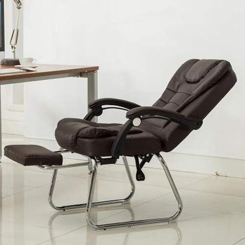 Büromöbel QZ-7 Home Moderner einfacher Computerstuhl, Bürostuhl, Konferenzstuhl, Fußstütze, Liegestuhl, Schwarz coffee