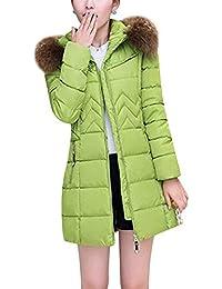 Pluma Mujer Invierno Caliente Chaqueta Bolsillos Delanteros con Cremallera Outerwear Manga Larga Colores Sólidos Estilo Moderno