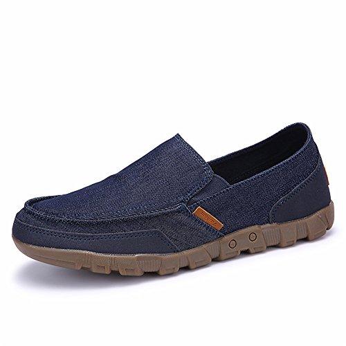 AgeeMi Shoes Uomo Slip on Tessuto Punta Tonda Mocassino,EuN03 Blu Scuro CN44/EU42.5