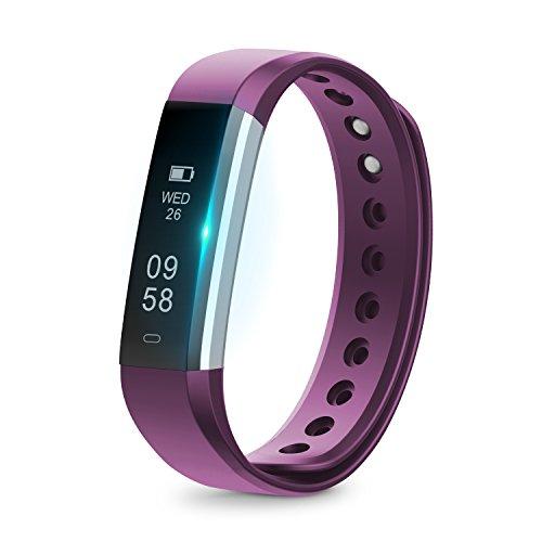 Fitness Tracker,Runme Fitnessarmband,kabelloses Bluetooth Armband,IP67 Wasserdichte, Aktivitätstracker Armband mit Schrittzähler,Schlafüberwachung für Android und iOS Smartphones(Silber+Lila)