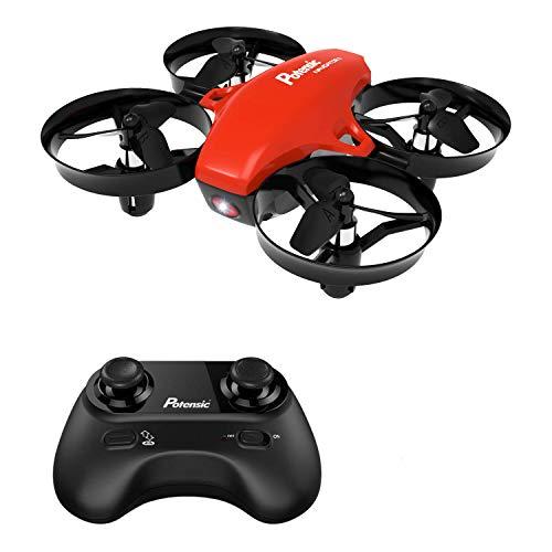 Potensic Mini Drone Drone Cadeau A20 Fonction sans tête, Altitude Tenir, Deux Boutons pour contrôler décoller et atterrisser, Drone Cadeau (Rouge)