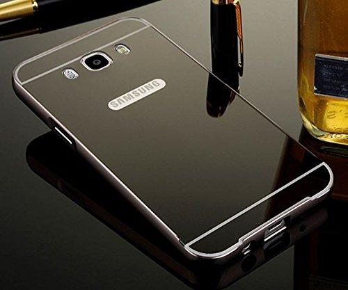 Kapa Luxury Mirror Effect Acrylic back + Bumper Case Cover for Samsung Galaxy J7 - 6 ( 2016 Edition) - Black
