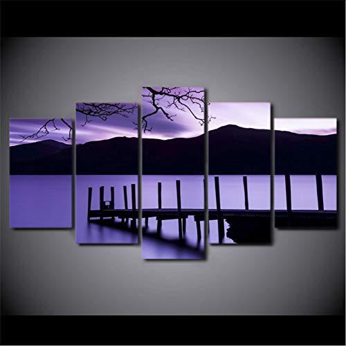 ljtao Poster Große Hd Gedruckt Malerei Leinwand 5 Panel Lila Dämmerung Pier Abend Wohnkultur Wandkunst Modularen Bilder Für Wohnzimmer-30Cmx40/60/80Cm-Frame