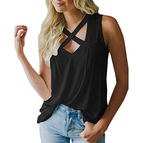 iHENGH Damen Top Bluse Bequem Lässig Mode T-Shirt Sommer Blusen Frauen V Ausschnitt Criss Cross Tank Tops Sexy ärmellose Bluse T-Shirt(Schwarz, M)