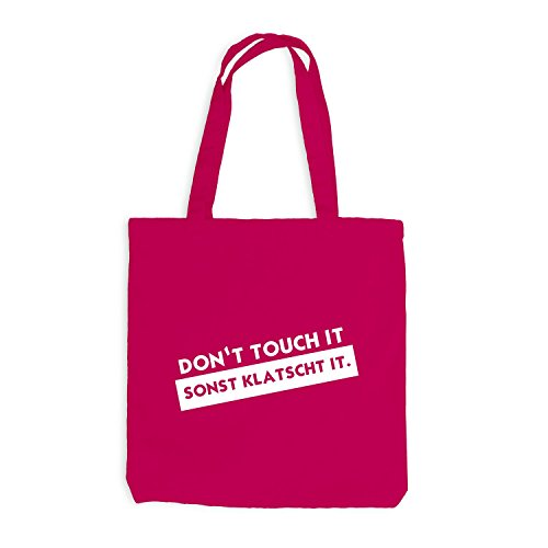 Jutebeutel - Don't touch - Sonst Klatscht it. - Fun Style Pink