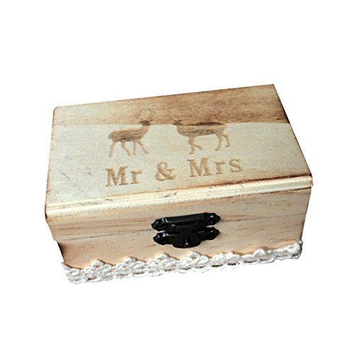 B Baosity Holz Ringbox Vintage Hochzeit Ringkissen Ringkästchen Etui Eheringe Shabby - Hirsche 10 x 6 x 5 cm -