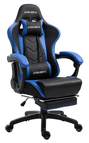 Dowinx Gaming Stuhl Ergonomischer Racing Stil Lehnstuhl mit Massage Lordosenstütze, Büro Sessel für Computer-PU-Leder-E-Sport-Gamer Stühle mit Ausziehbarem Fußraste (schwarz&blau)