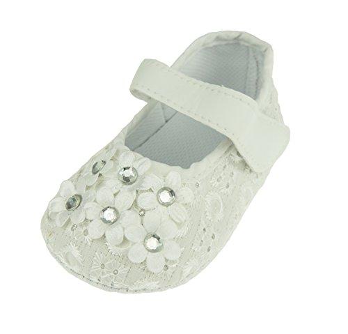 Bambina ricamo floreale diamante Slip On Estate Sandali Padders Scarpe White 0-3 Mesi 11