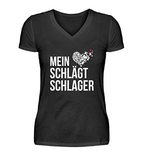 Mein Herz Schlägt Schlager Tshirt Schlagerfan Shirt Schlagermusik Geschenkidee - V-Neck Damenshirt -XL-Schwarz