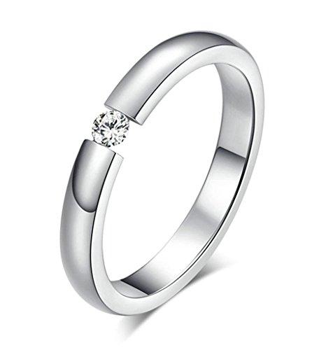 Beydodo Edelstahl Ring Damen Ringe Ehering (Vintage Ring), Mit CZ Breite 3MM Größe 54 (17.2) Silber (Damen Schuhe Platin)