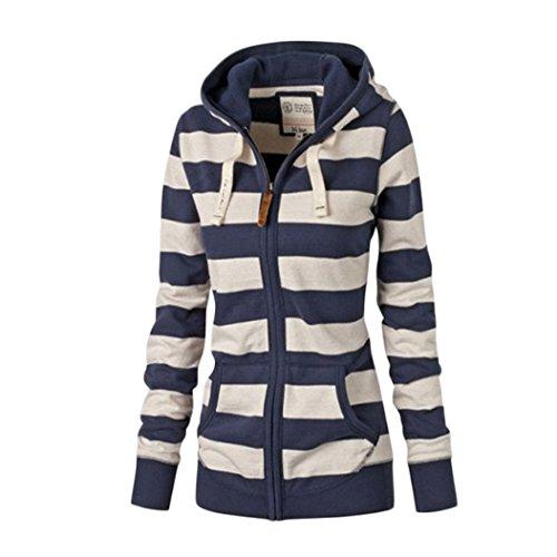 MTTROLI Women Hoodies Winter, Stripe Women Hoodies Sweatshirts O-Neck Long Sleeve Warm Hooded Jacket
