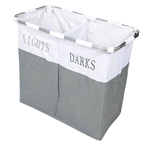 Country Club Lichter und Dark zusammenklappbar Laudry Korb Waschtücher Aufbewahrungsbox, Metall, grau/weiß (Licht Aufbewahrungsbox)