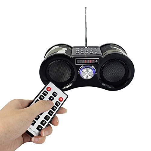 YWT Tragbares UKW-Radio, digitaler Stereo-MP3-Player mit Fernbedienung, Unterstützung für SD-Karte, USB-AUX-Eingang, Akku, Tarnung (Tv Am / Fm Radio Mit Cd-player)